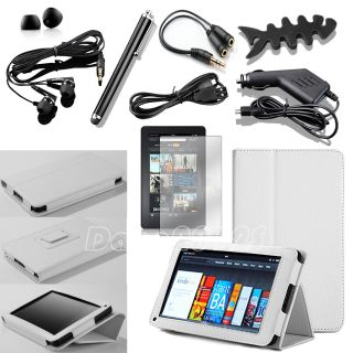 PU Leather Case Cover 10 in 1 Bundles for Kindle Fire 1 2 7