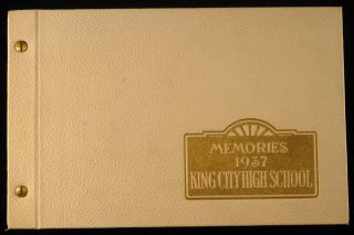 1937 King City High School Yearbook California Photos