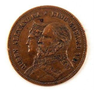 King Edward VII Queen Alexandra Coronation Coin Token Medal Busts Coat