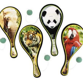 Animals PADDLEBALL Games Balls Kids Birthday Party Favors Toys Dozen