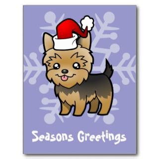 Christmas Yorkie (puppy cut) postcards by SugarVsSpice