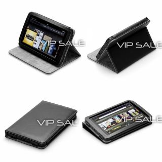 Kindle Fire Luxury Black Leather Cover Case with Adjustable Stand