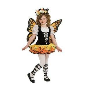 Monarch Butterfly Queen Costume Girl Child Fairy Orange Yellow Black