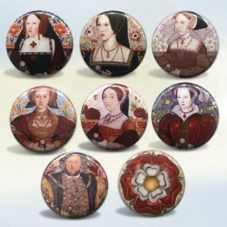 Tudors King Henry VIII Wives Set of 8 Pinback Buttons