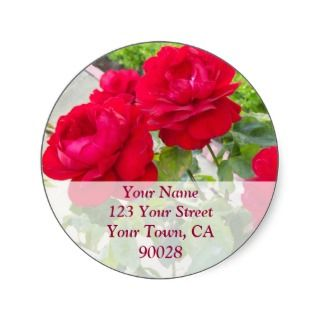 Red Roses Address labels Round Stickers
