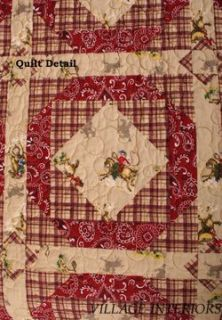 Horse Cowboy Rodeo Bandana Red 100 Cotton Oversize King Quilt