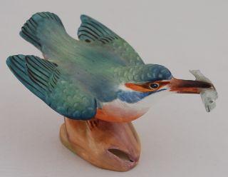Vintage Royal Worcester 3235 Kingfisher Bird Fish Figurine