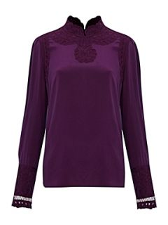 Biba Long sleeve lacework silk blouse Dark Purple