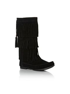 Steve Madden Takoda SM Fringed Boot Black   House of Fraser