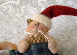 Folk Art Country Folk Art Christmas Cat Kitten w Santa Hat in Stocking