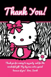 Hello Kitty Thank You Cards Zebra Print Printable Birthday Party 4x6
