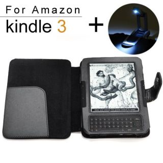 Leather Cover Case LED Reading Light for  Kindle Fire 3G 3 4 DX