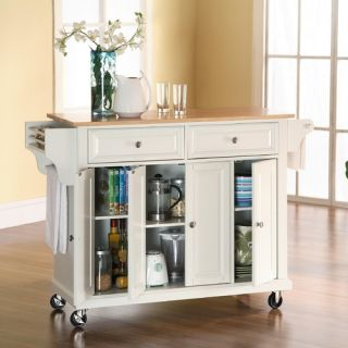 Crosley Kitchen Cart Island with Natural Wood Top in White KF30001EWH