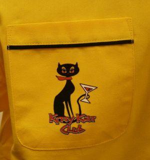 Gold Black Kitty Kat Club Retro Bowling Shirt Kool PRRR