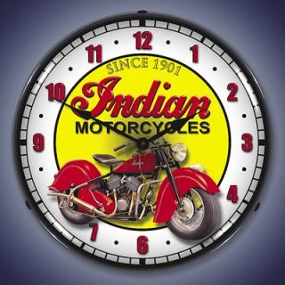 GHH Clock Wall Mount Indian Motorcycles Logo White Red Yellow Face 14