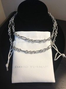 David Yurman Figaro Sterling Silver 18K Gold 32 Long Chain Necklace