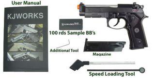 KJ Works KJW M9 Elite Airsoft Soft Air Pistol Gun Gas Blowback Full