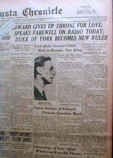 1936 Headline Newspapers British King Edward VIII Abdicates Throne