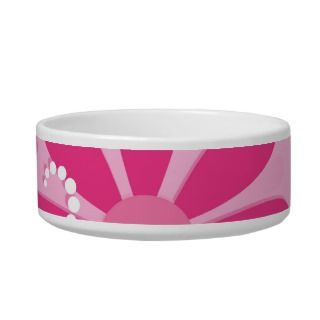 Cute Abstract Girly Pink Retro Flowers Cat Food Bowls