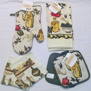 Country Kitchen Towel Oven Mitt Dishcloth Pot Holder Olive Oil Set New