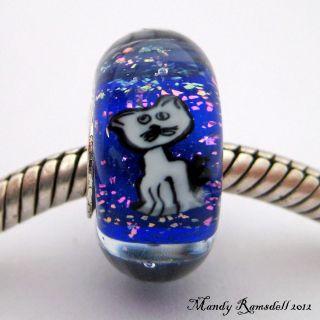 Kitty Cat Handmade Sterling Silver Core European Charm Lampwork Glass