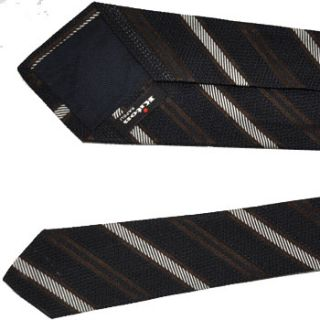Brand New KITON 7 Fold Tie Black Brown Silver Stripes Authentic $275