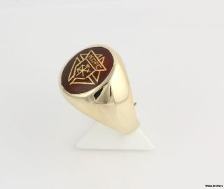 Knights of Columbus Genuine Carnelian Ring 14k Yellow Gold Solid Back