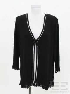 St John Collection Black White Knit Tie Front Cardigan Size 16