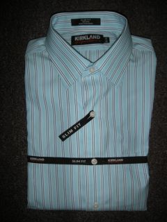 NWT KIRKLAND Mens 15.5 x 32 SLIM FIT Dress Shirt NON IRON Blue White