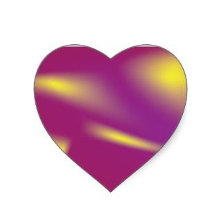 Colorful Bright Pink Yellow Heart Sticker