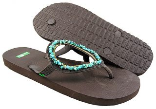 New Sanuk Womens Ibiza Gypsy Turquoise Thong Sandal Shoes US Sizes
