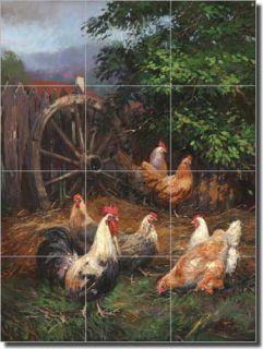 Mirkovich Rooster Art Kitchen Ceramic Tile Mural Backsplash 18 x 24