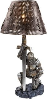 Weary Warrior Knight Kneeling in Full Battle Armor Table Desk Console