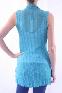 Mechant Aqua Teal Blue Light Knit Belted Tie Waist Sweater Duster Vest
