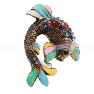 Stylish Unique Colorful Koi Fish Crystal Brooch