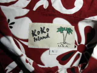 Koko Island Mens Hawaiian Shirt Large Button Down Camp Red White