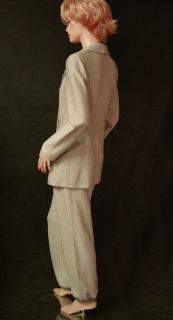 2090 St John Herringbone Knit Pants Suit Sz 8 Doubl Breasted Fitted