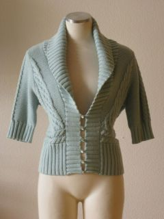 Free People Pastel Baby Blue Chunky Cable Knit Shawl Collar Cardigan