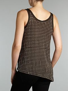 Michael Michael Kors Studded top with asymmetric hem Brown