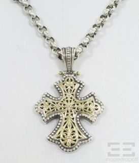 Konstantino Sterling Silver 18K Yellow Gold Cross Pendant Necklace