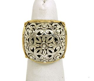 KONSTANTINO STERLING SILVER & 18K GOLD ORNATE FLORAL STYLED BAND RING