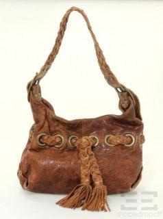 Kooba Brown Braided Tassel Leather Shoulder Bag