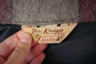 Vintage 1960s Fox Knapp CPO Plaid Wool Warm Shirt Jacket USA Made M