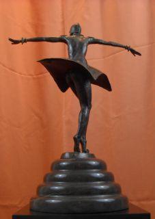 Art Deco Kora Bronze Statue Demetre Chiparus Unique Marble Base