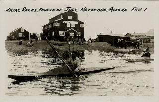 Kotzebue AK Real Photo Kayak Race Native American Indian Alaska