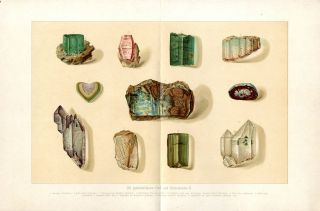 PRECIOUS STONES GEMS Antique Chromolithograph Print H.Kraemer FOLIO