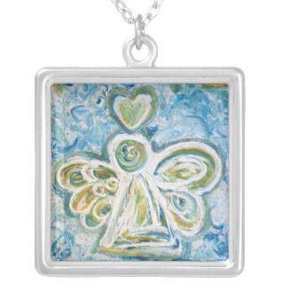 Golden Blue Angel Silver Necklace