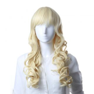 Long Water Wavy Light Blonde Synthetic Hair Lace Front Full Wig LC057