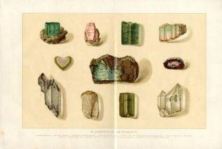 Precious Stones Gems Antique Chromolithograph Print H Kraemer