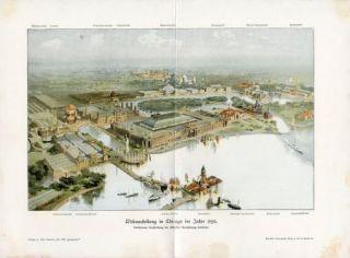 C1900 Chicago Worlds Fair 1893 Antique Litho Print Kraemer